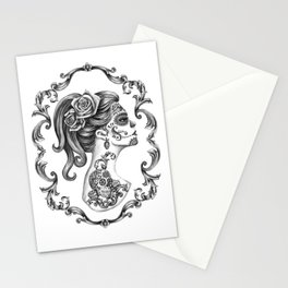 Sugar Skull Girl Cameo Stationery Cards