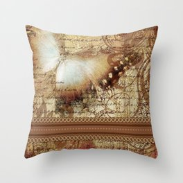 LE PAPILLON | tan Throw Pillow