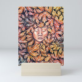 lady in leaves Mini Art Print