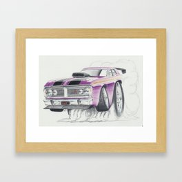 Ford XY Falcon Burn out by Glens Graphix Framed Art Print