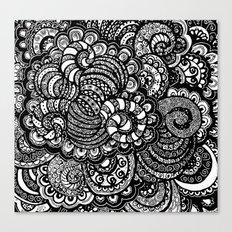 Zen Doodle Design Black and White Canvas Print