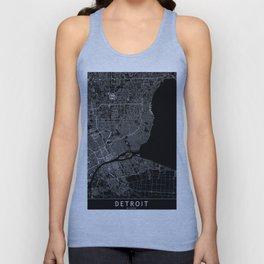 Detroit Black Map Unisex Tank Top