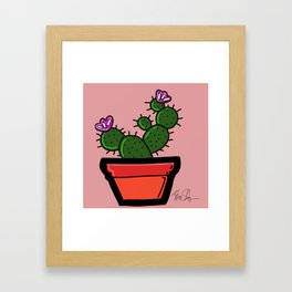Cute Prickly Potted Cactus Framed Art Print