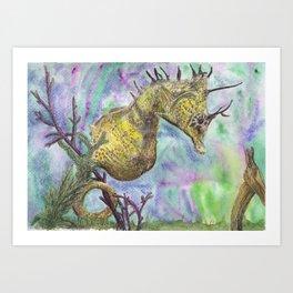 Seahorse Watercolor Art Print