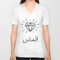 diamond V-neck T-shirts featuring diamond by Sara Eshak