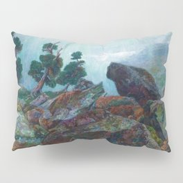 Weather chirping on cyclone rock landscape painting by Emilie Mediz-Pelikan Pillow Sham