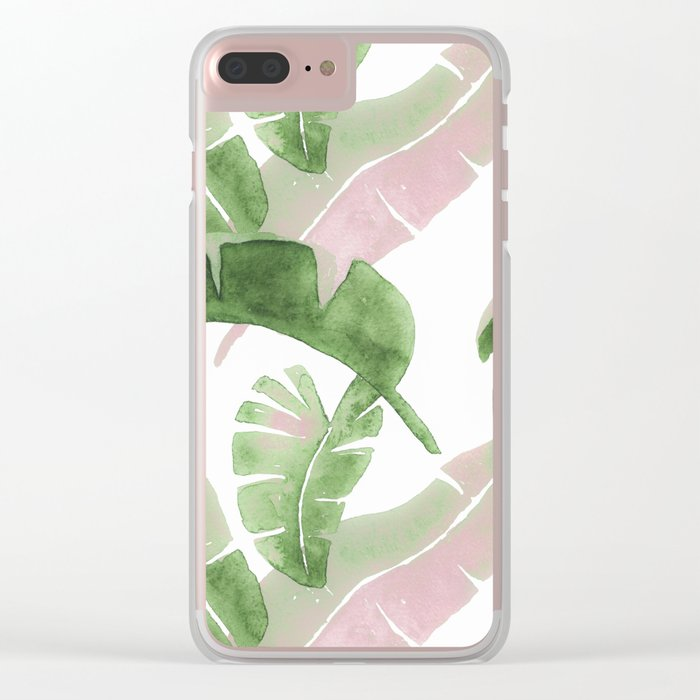 Tropical Leaves Green And Pink Clear iPhone Case