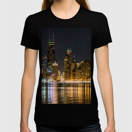 Chicago North Shore Skyline Night T-shirt