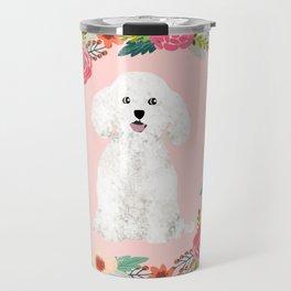 bichon frise floral wreath dog gifts pet portraits Travel Mug
