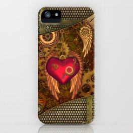 Steampunk, heart with wings iPhone Case