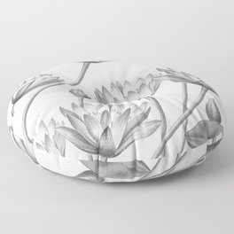 Water Lily Black And White Floor Pillow