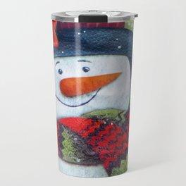 Snowman with Scarf Travel Mug