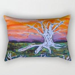 Tree and Orange Sky Rectangular Pillow