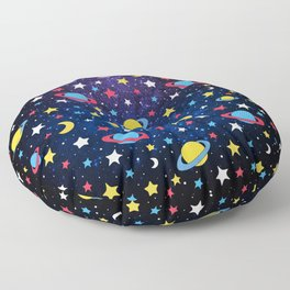 Colourful Stars and Planets Pattern Floor Pillow