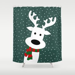 Reindeer in a snowy day (green) Shower Curtain