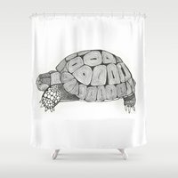 tortoise Shower Curtains featuring Tortoise by Carissa Tanton