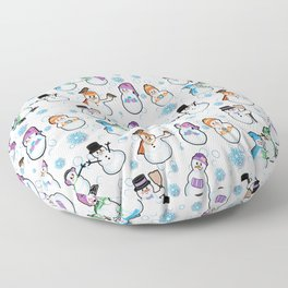 Let it snow! Snow people, snowman by  Beebus Marble Floor Pillow