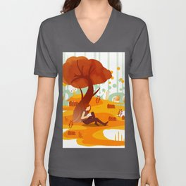 Summer Reading Girl Under Tree Unisex V-Neck