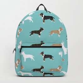 Bull Terrier dog breed cute custom pet portrait pattern all coat colors Backpack