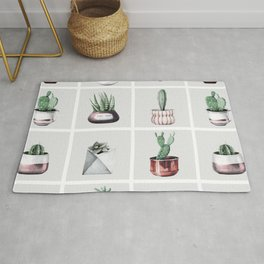 Cactus Bunch Grid Rose Gold Gray Green Rug