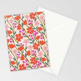 Wildflowers in Pink and Red Stationery Cards