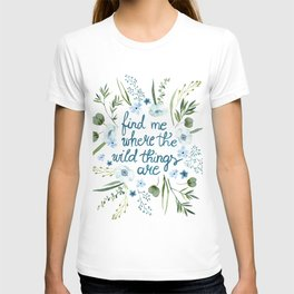 Floral Quote Blue T-shirt