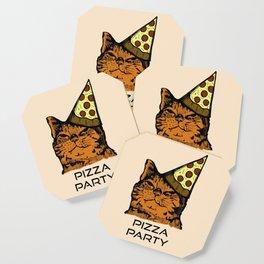 Pizza Party Cat: Funny Animal Kitty Coaster