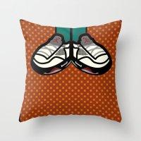 air jordan Throw Pillows featuring AIR JORDAN 5 by originalitypieces