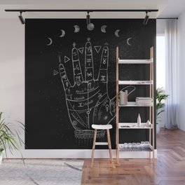 'Palmistry by Night' and moon phases by Kristen Baker Wall Mural