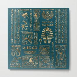 Egyptian hieroglyphs and deities - Gold on teal Metal Print