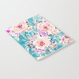 WAHINE WAYS Aqua Tropical Floral Notebook