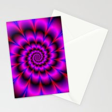 Spiral Rosette in Pink Blue and Red Stationery Cards