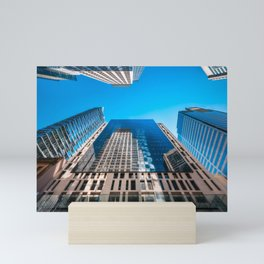 Looking up from George street at major City Towers in Sydney Mini Art Print