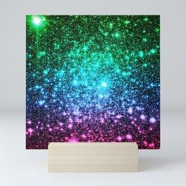glitter Cool Tone Ombre (green blue purple pink) Mini Art Print