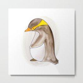 Animal Tales - Penguin in Watercolor Metal Print