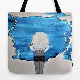 Enticing Interlude. Illustrated for Author Michelle Mankin. Girl Sunset Blue Blonde Sky Tote Bag