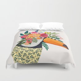 Toucan with flowers on head Duvet Cover