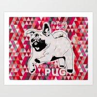 Cute farting pug Art Print