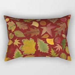 Autumn Leaves Red Rectangular Pillow