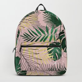 Modern gold tropical leaves and doddles design Backpack