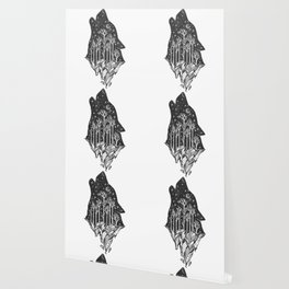 Adventure Wolf - Nature Mountains Wolves Howling Design Black on Pale Pink Wallpaper