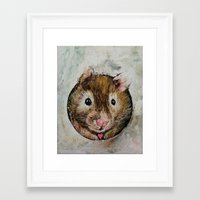 hamster Framed Art Prints featuring Hamster Love by Michael Creese