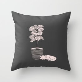 Cat and Plant Throw Pillow