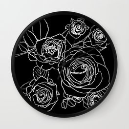 Feminine and Romantic Rose Pattern Line Work Illustration on Black Wall Clock