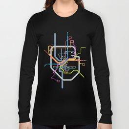 Simplified Columbus Transit Map Long Sleeve T-shirt