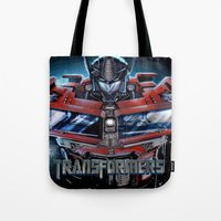 transformers Tote Bags featuring Custom Transformers 4 design by ira gora