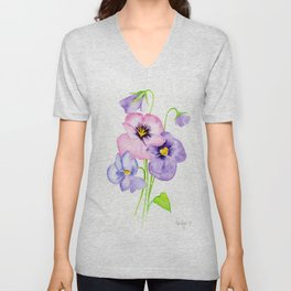 Pretty Pansies Unisex V-Neck
