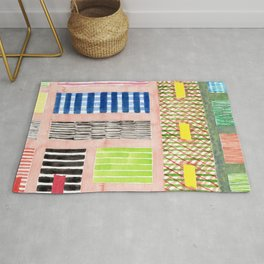 Friendly Pattern Mix On Pink Rug