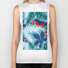 Christmas Tree With Bird and Holly Pattern Biker Tank