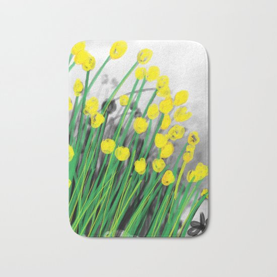 Yellow Flowers! Bath Mat